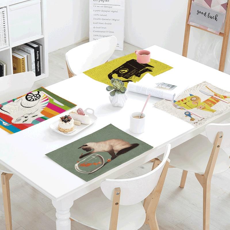 Personality Creative 42x32cm Wallpaper Cat Goldfish Kitchen Restaurant Dorm Decoration Napkin Linen Western Style Pad Table Flag