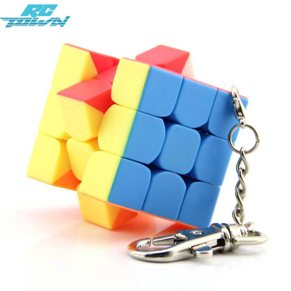 RCtown Mini 3rd order Keychain Magic Cube Speed Cube Puzzle Educational Toy For Children Kids zk30 yj guanlong speed third order magic cube toy