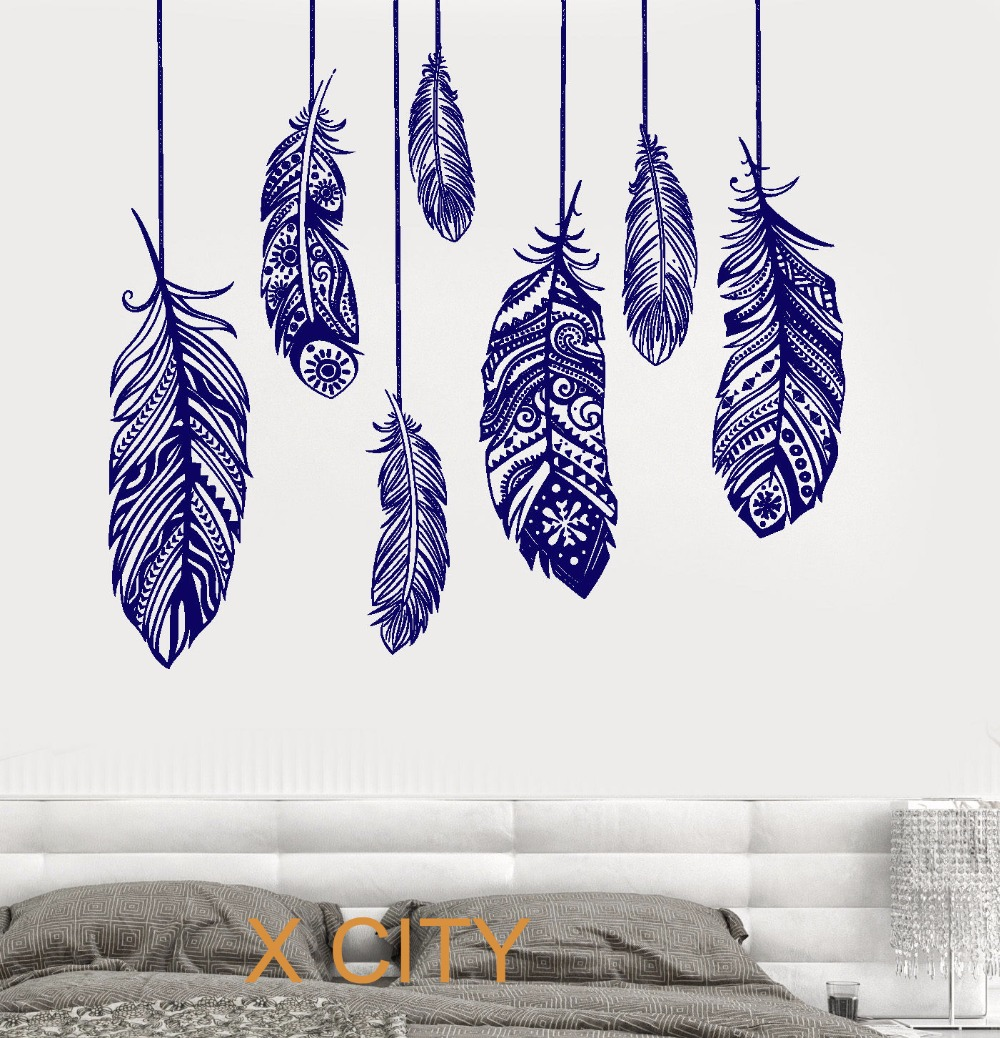 US $11.19 30% OFF|Ethnic Love Feather Romantic Bedroom Wall Art Decal  Sticker Removable Vinyl Transfer Stencil Mural Home Decor-in Wall Stickers  from ...
