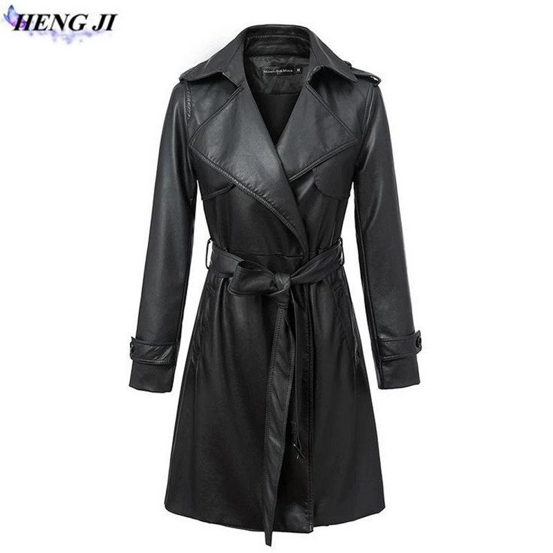 Autumn winter 2017 new long leather garment lapel belt long sleeve PU leather trench coat high