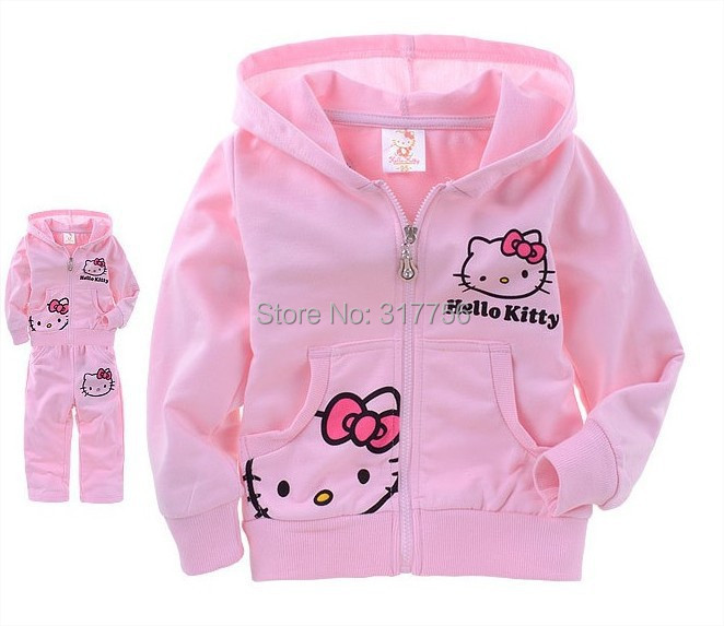Girls clothing suits autumn kids long-sleeved set cotton printed cartoon hello kitty terry hooded zip cardigan jacket wholesale printed embroidered zip up bomber jacket