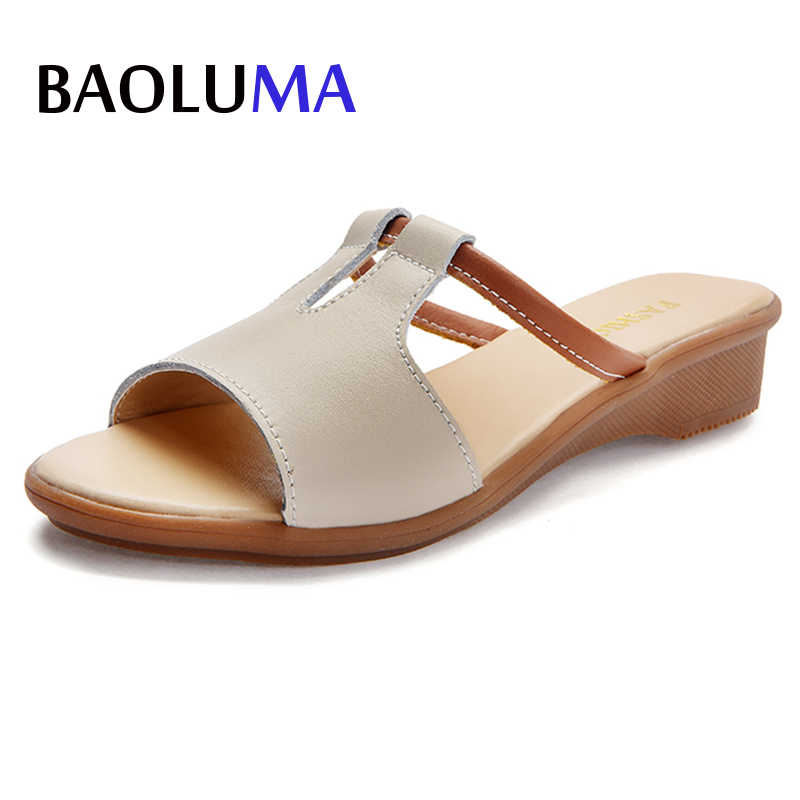 Summer Plus Size Luxury Sandals Women Leather Femme Flat Drivers Wedges Shoes Occasions Comfortable Female High Heel Sandals