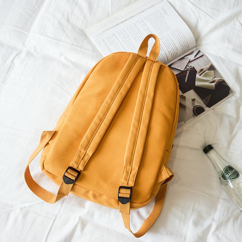 Menghuo 5 Pcsset Women Backpacks Cute Plane Badge School Bags For Teenage Girls Simple Canvas Backpacks Ladies Shoulder Bags (2)