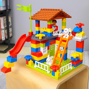 Image 2 - DIY Colorful City House Roof Big Particle Castle Building Blocks Compatible Duploe Creative Bricks Toys For Children Kids Gifts