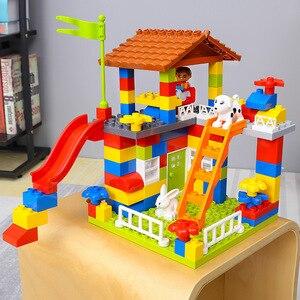 Image 2 - DIY เมืองที่มีสีสัน House Roof Big Particle ปราสาท Building Blocks ใช้งานร่วมกับ Duploe สร้างสรรค์อิฐของเล่นสำหรับเด็กของขวัญเด็ก