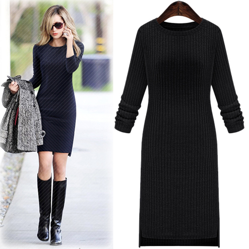 The New Spring And Summer 2018 Big-name V-neck Package Hip Cultivate One's Morality Show Thin Long-sleeved O-neck Knitted Dress stainless steel full window with center pillar decoration trim car accessories for hyundai ix35 2013 2014 2015 24
