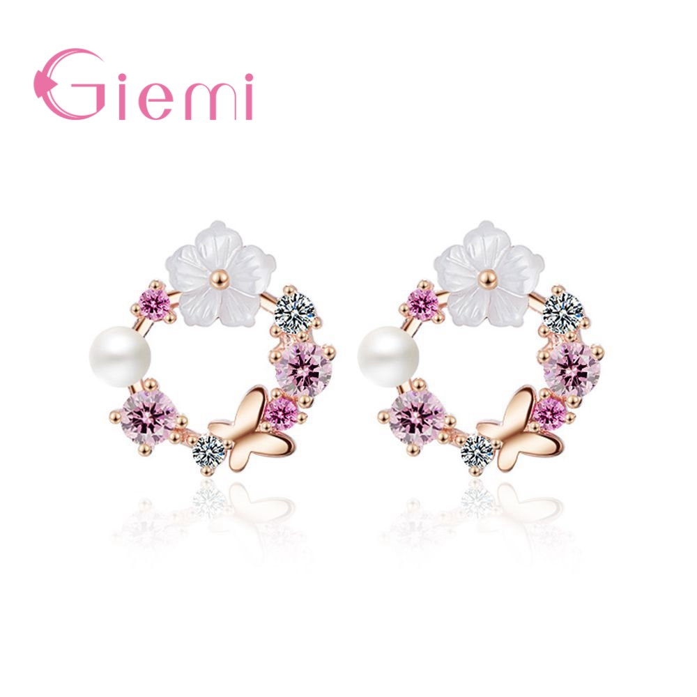 Real 925 Sterling Silver Earrings Pretty Butterfly Colorful Flowers+White Peal Cubic Zirconia Crystal Jewelry For Women