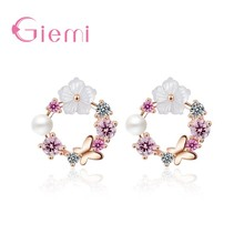Brincos de prata esterlina 925 real, borboleta, flores coloridas + peal branco, zircônia cúbica, joias de cristal para mulheres