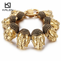Kalen Classic Buddha Head Charm Bracelets & Bangles Stainless Steel India Gold Color Buddha Lucky Wristband Bracelets For Men