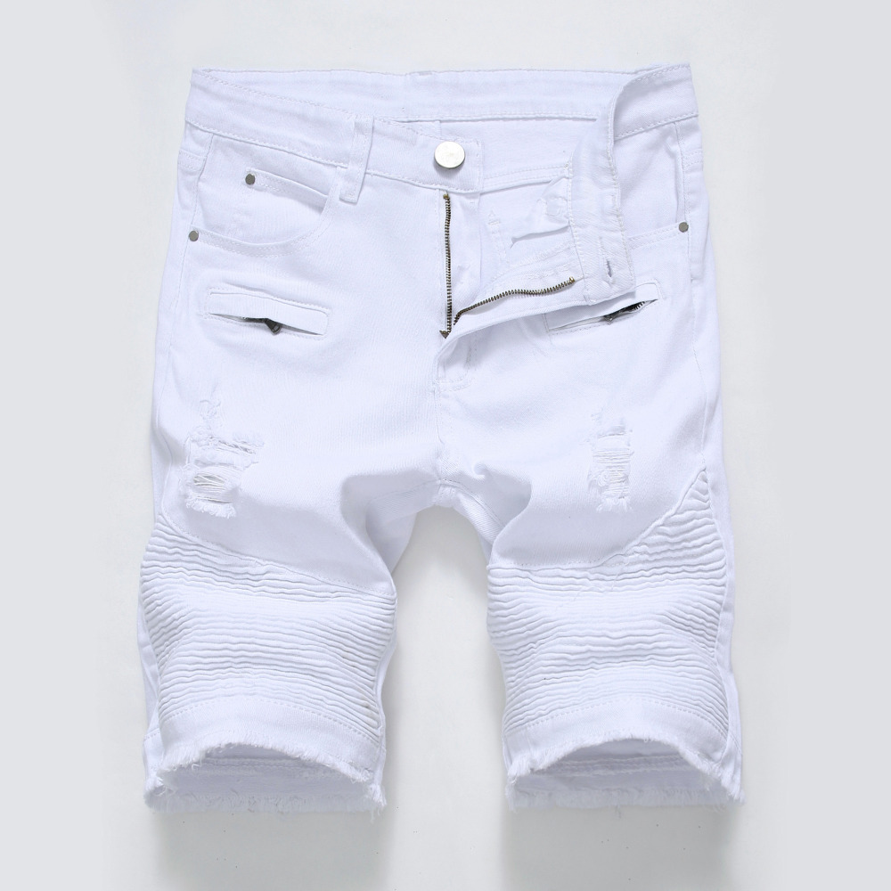 NEW high street shorts Hip hop fashion summer male short jeans Soft and comfortable hole shorts jeans