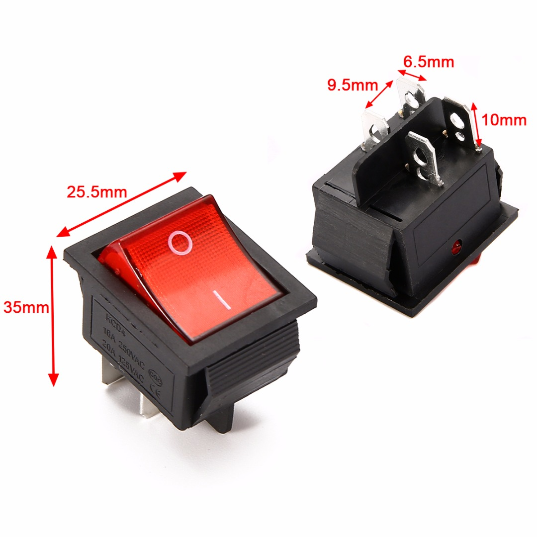 5pcs 2 Position Red Light Rocker Switch 16A/250V KCD4-20 4 Pin ON/OFF Toggle Switches 35 x 25.5 x 10mm цена