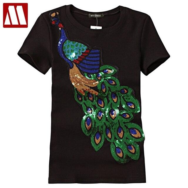 2017 Noble Elegant T shirt Women Peacock Sequined Sequins T-shirt Womens Fashion New Top Tee Shirt Femmer Lady Sakura Clothes