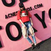 2017 Fashion Hole Ripped Jeans Women Cool Denim Pants Vintage Girl Casual Female big ripped holes Jeans sexy girl streetwear