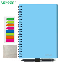 NEWYES A5 Smart Reusable Notebook Erasable Wirebound Notebook Cloud Storage App Paperless Waterproof Hardcover Diary Book Gifts newyes a5 smart reusable erasable notebook paper microwave wave cloud erase notepad lined with pen dropshipping customized gift