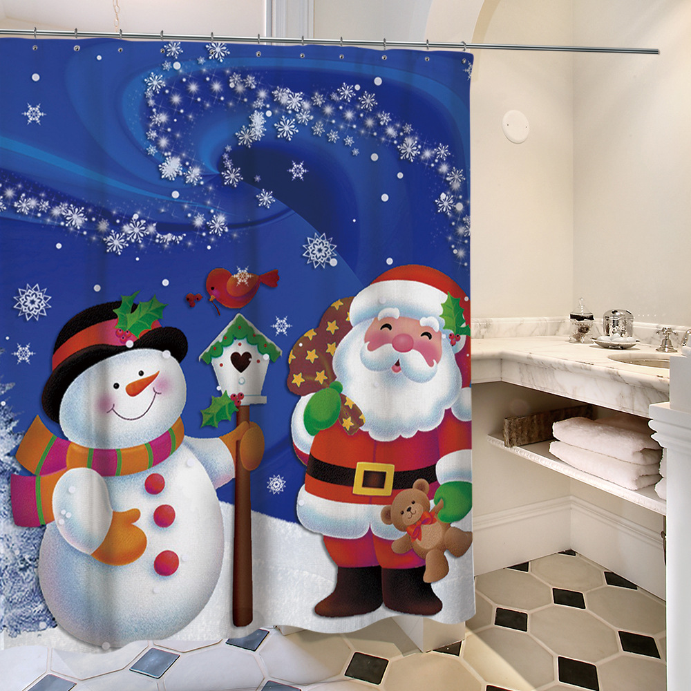 Christmas Tree Waterproof Fabric Polyester Washable Snowman Printed Mildewproof Bath Shower Curtain with Hooks for Bathroom