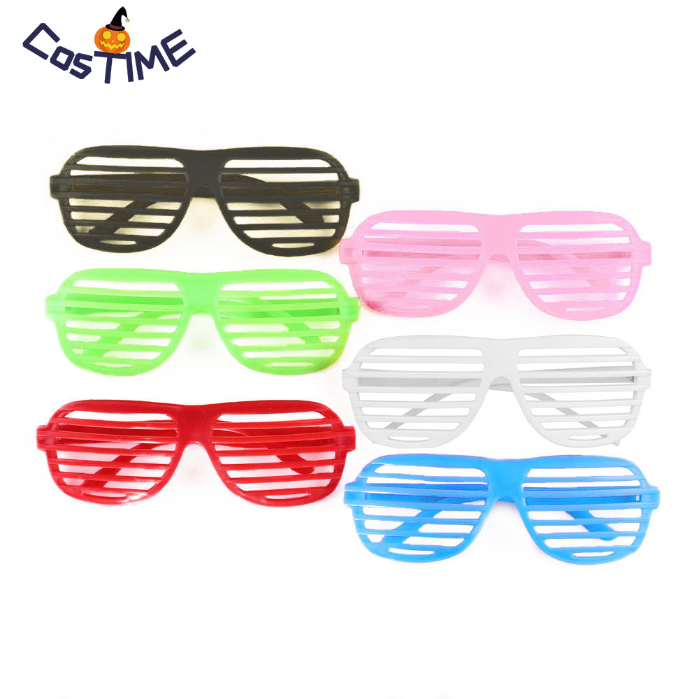 6 Pairs Neon Shutter Glasses Adult Shutter Shading Sunglasses 80s Joke Fancy Dress Accessory Halloween Costume Party Supplies