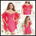 Fashion Hot Pink Mini Cocktail Party Dresses Short Sleeves Beading Chiffon Women's Pageant Gowns 2016 robe de cocktail