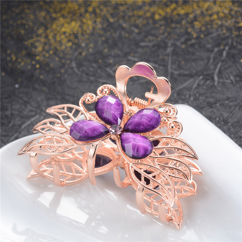 1Pcs Fashion Women 39 s Crystal Resin Flower Hair Clip Vintage Rhinestone Hair Pin Crab Clip Claw Barrette Accessories Girl Gift in Hair Jewelry from Jewelry amp Accessories