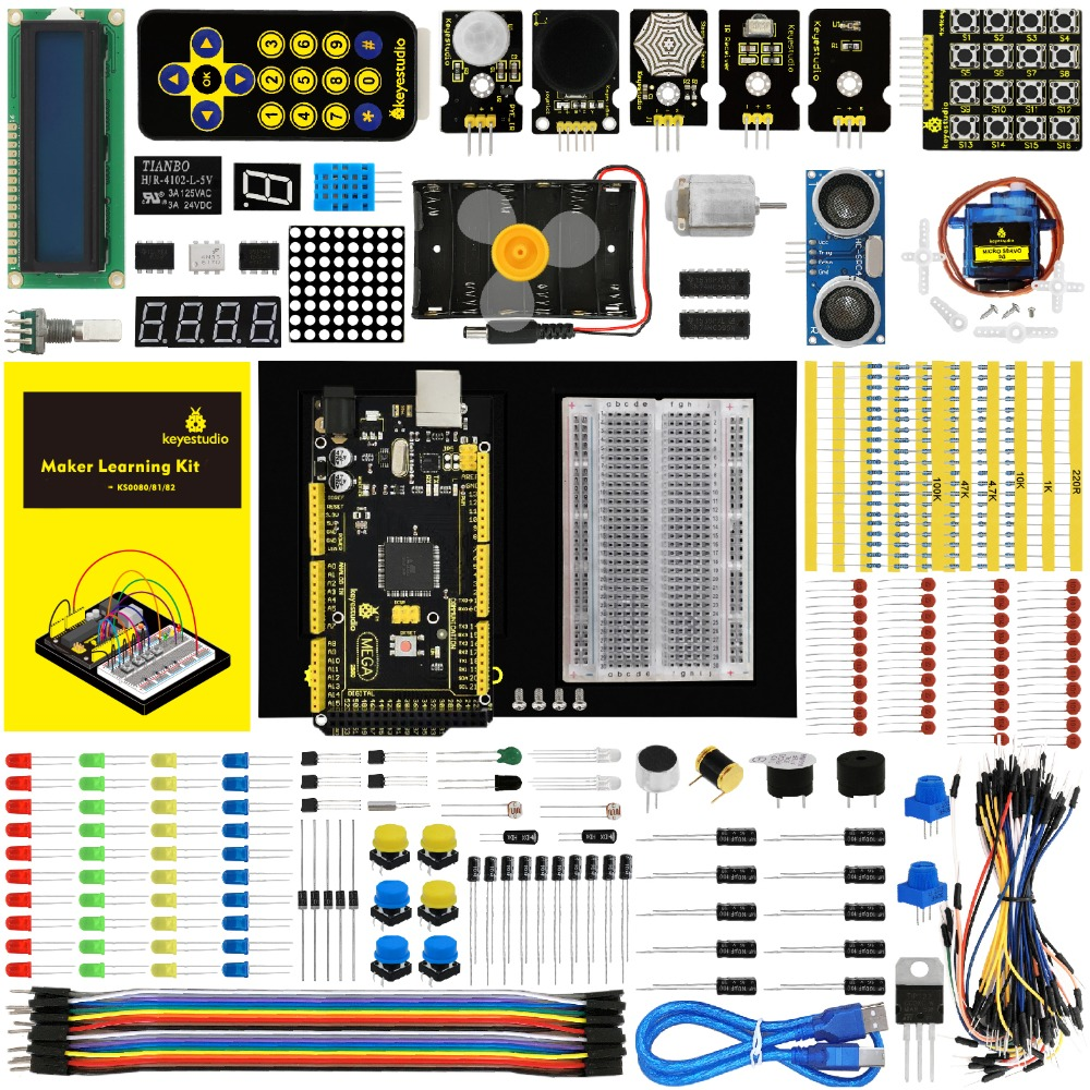 Keyestudio чайник Starter Kit (MEGA 2560 R3) для проекта Arduino W/Подарочная коробка + Руководство пользователя + 1602LCD + шасси + PDF (онлайн) + 35 проект + видео