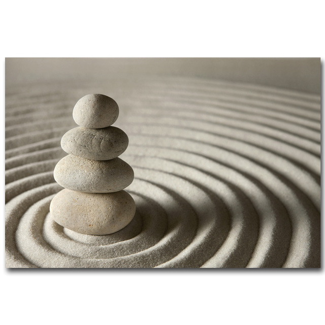 Nicoleshenting Zen Stone Meditation Art Silk Fabric Poster