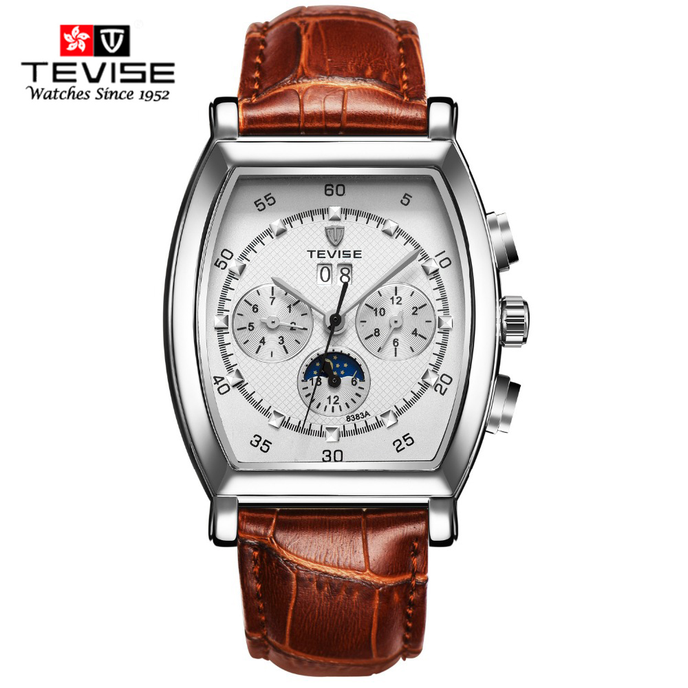 TEVISE leather Strap Men's Automatic Self Wind Military Stylish Day Date Calendar Business Mechanical Watche Montre Homme Clock tevise fashion auto date automatic self wind watches stainless steel luxury gold black watch men mechanical t629a with tool