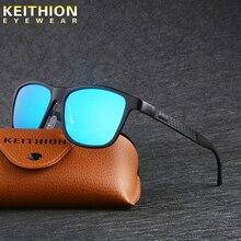 KEITHION Polarized Sunglasses Men Aluminium Magnesium Square Frame Eyewear Outdoor Driving Mirrored Anti Glare Sun Glasses