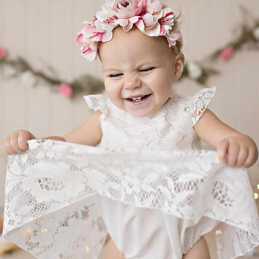 MUQGEW Baby Girls Ruffles Sleeve Dress Romper White Lace Round neck Sleeveless lovely Outfits Vetement Bebe Fille yf3