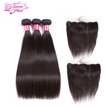 Queen Love Hair Peruvian Human Hair Bundles With Closure Naturfärg 3 Bundlängdsförlängning med 13 * 4 Spets Frontal Closure