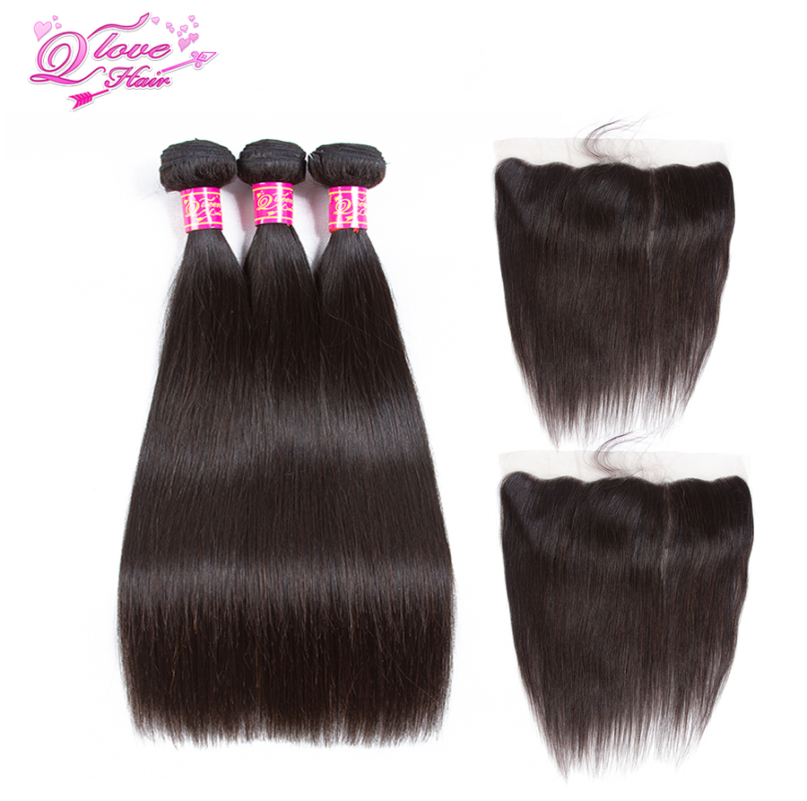 Queen Love Hair Peruvian Human Hair Bundles With Closure Nature Color 3 Bundles With 13*4 Lace Frontal Closure Hair Extension