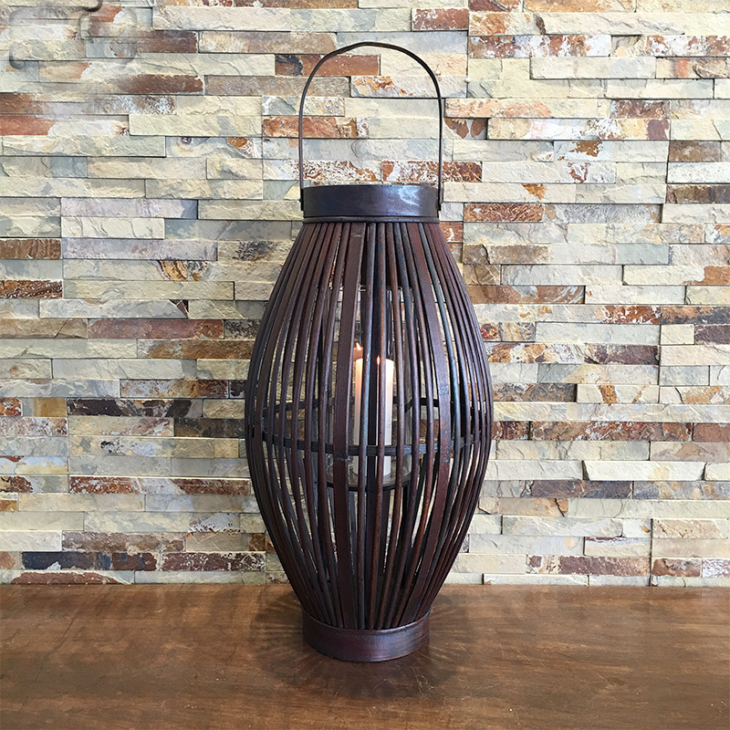 77 CM grande Antique bambou et bois bougie lanterne bougeoir décoratif extérieur Portable bougeoir pour Bar bâton et mariage