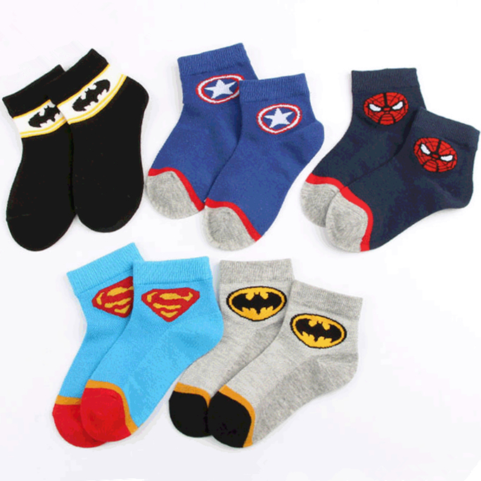 Age1-12T Superhero Cartoon Kid Short Socks Spiderman American Captain Superman Batman Students Boys Child School Fun Invisible