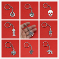 Women/Men's Fashion Handmade Vintage Silver Skull Elephant HorseTree Key Chains Key Rings Alloy Charms Gifts YSDY238 Wholesale