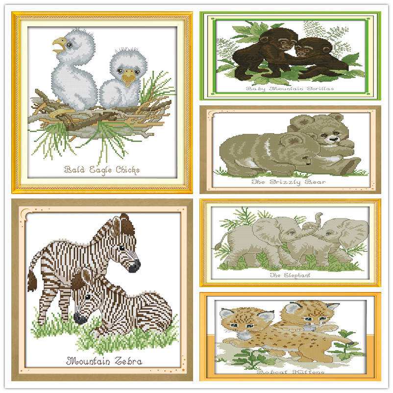 Dier Gorillas/beer/baby Zebra/grackle/olifant/bobcats Borduurpakketten Gedrukt Patronen Canvas Borduurwerk Handwerken Set Diy Koel In De Zomer En Warm In De Winter