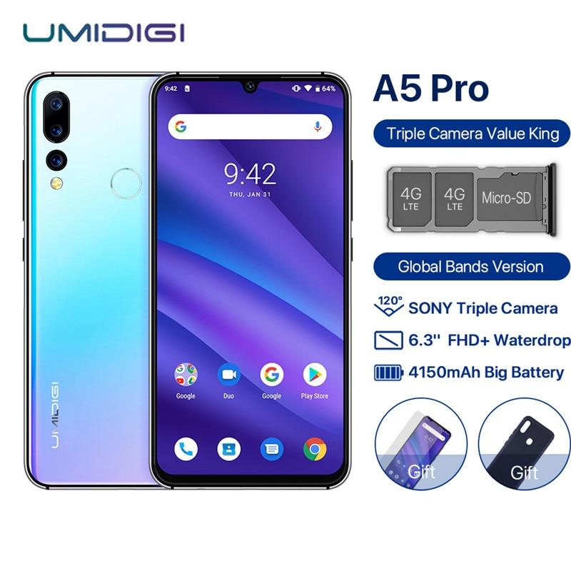 UMIDIGI A5 PRO Android 9.0 Octa Core 6.3' FHD+ Waterdrop 16MP Triple Camera 4150mAh 4GB RAM 32GB ROM 4G Celular Smartphone