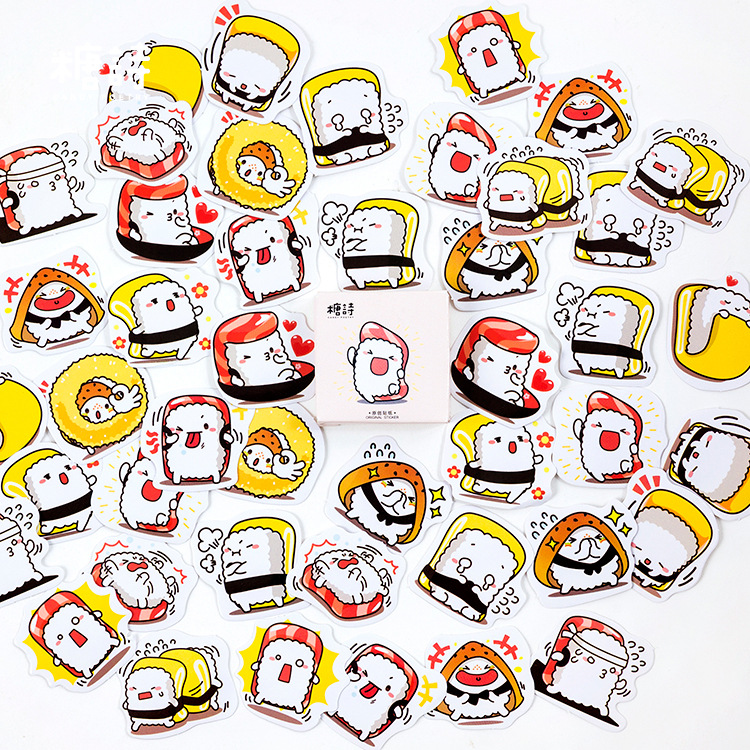 Lovely Sushi Character Stickers Set Decorative Stationery Stickers Scrapbooking DIY Diary Album Stick Lable