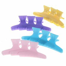 12pcs Hair Claw Salon Styling Tools Plastic Colorful Hair Clips Hairdressing Tool Butterfly 12Pcs Section Clip Clamps