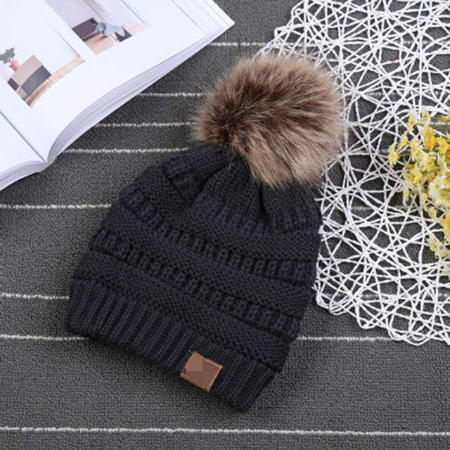 fe5872d509905 Children Winter Hat Beanie Faux Fur Pom Pom Ball For Hat Knitted Cap Skully  Warm Ski