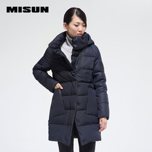Misun fashionable casual personality three-dimensional geometry avant-garde front fly exquisite quality medium-long down coat