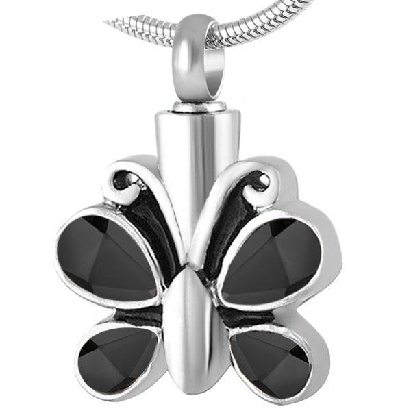 8494 Noir Cristal Papillon Urne Pendentif Collier Cendres Memorial Souvenir Collier En Acier Inoxydable Crémation Bijoux pour Femmes
