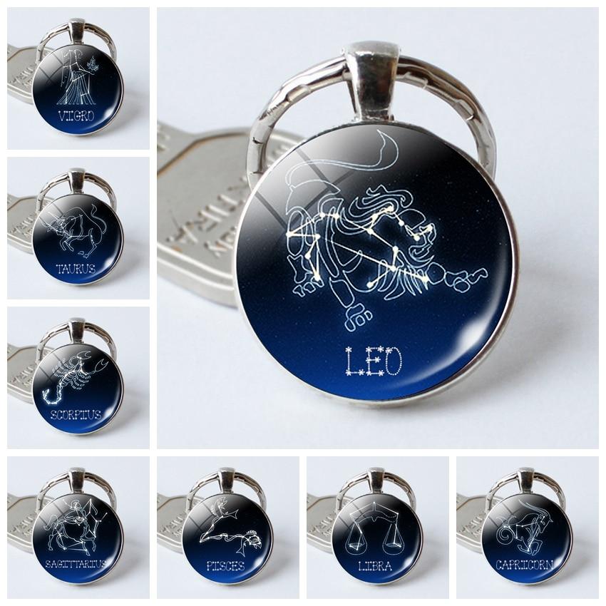 Birthday Gift Cool Astrology Leo Virgo Sagittarius Constellations Key Chains Rings Zodiac Signs