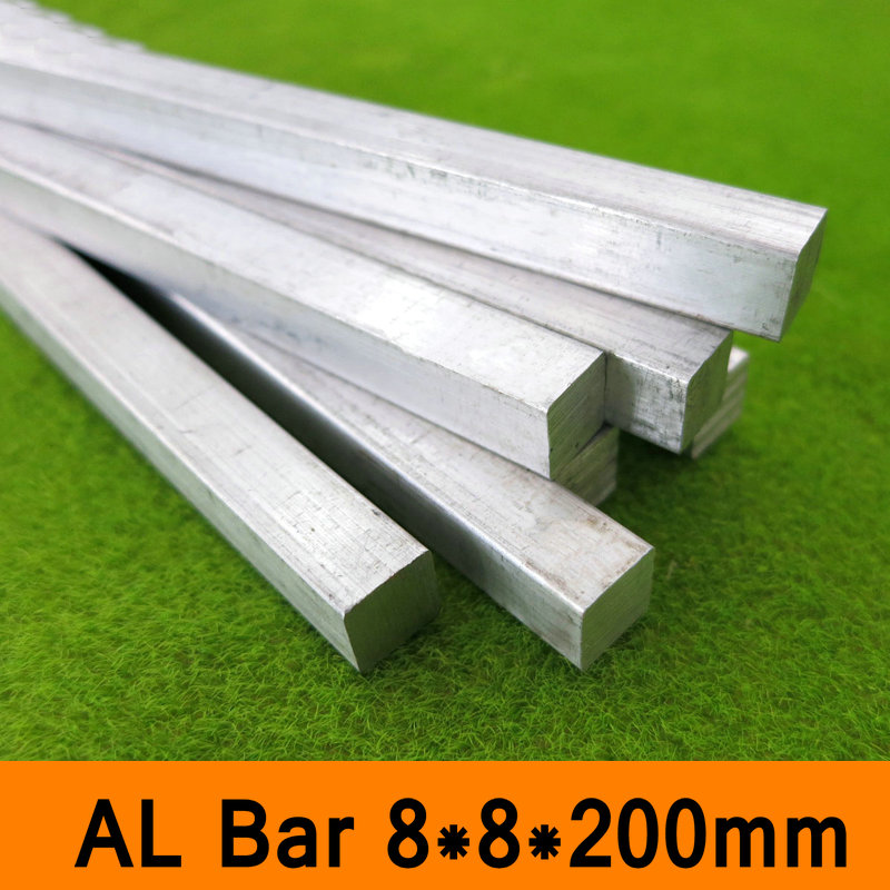 6063 Square Metal Aluminium AL Bar 8x8x200mm DIY Material for Model Part Accessories DIY Car Frame Metal Bar for Construction
