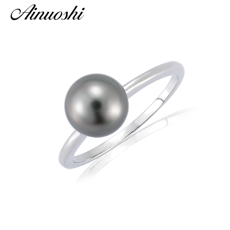 AINUOSHI Fashion 925 Sterling Silver Rings Natural Tahitian Cultured Pearl 8-9mm Round Pearl Women Wedding Silver Rings JewelryAINUOSHI Fashion 925 Sterling Silver Rings Natural Tahitian Cultured Pearl 8-9mm Round Pearl Women Wedding Silver Rings Jewelry