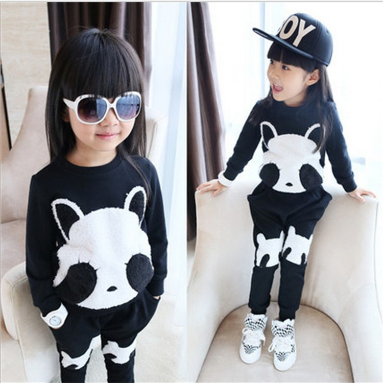 Cute Baby Girls Panda Set Baby Boys Kids Long Sleeve Panda T-shirt Top and  Harem Pants Casual Outfit School Girls Clothes Set camouflage 2016 new newborn baby boys kids shirt top long pants army green baby boys clothing outfit clothes set