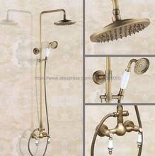 Antique Brass Shower Faucet Set 8 Inch Shower Head Hand Shower Sprayer W/ Hand Shower Wall Mounted Mixer Tap Ban108 polished chrome led rain shower head valve mixer tap w hand shower sprayer