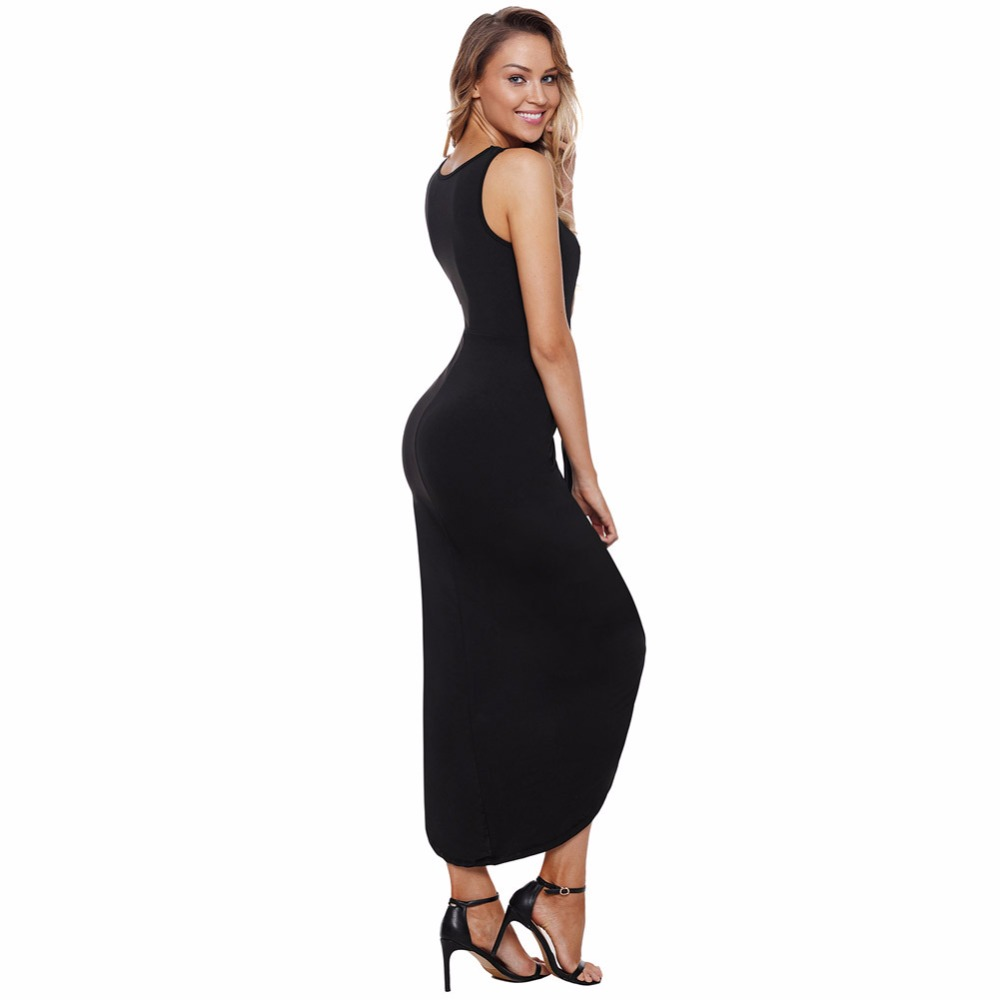 YI RAN SHI NI Maxies new fashion sexy crossover v-neck, sleeveless, high-waisted, high-waisted dress