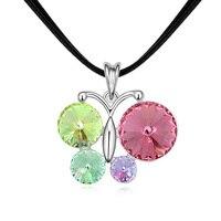 Kobiety dziewczyna motyl naszyjnik kobiety moda austriacka kryształ breloczka łańcuchu choker chunky naszyjnik 4 kolory skórzany naszyjnik prezent