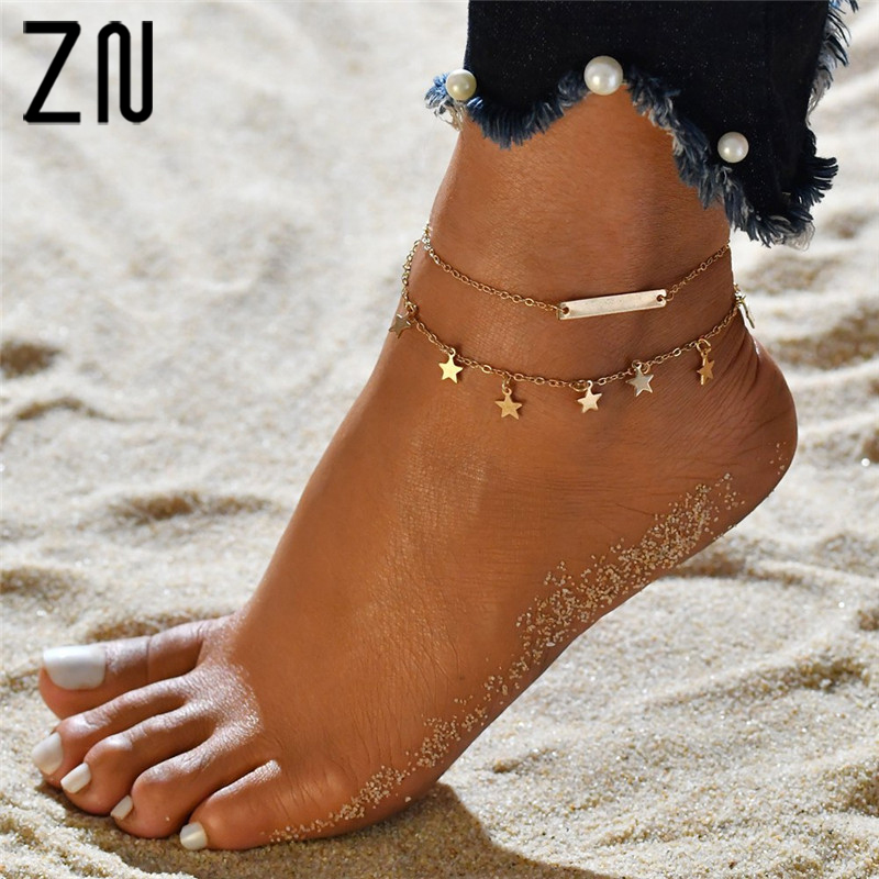 ZN Fashion Bohemian Foot Jewelry Ankle Bracelets For Women Double-layered Five-Pointed Star Anklet Female