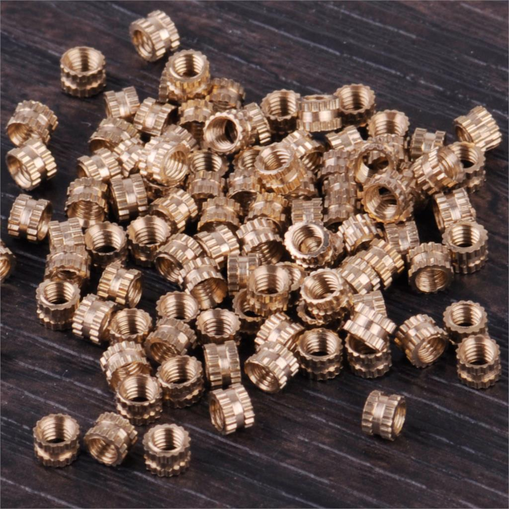 LETAOSK 100PCS M3x3 Brass Cylinder Knurled Threaded Round Insert Embedded Nuts Light Fixtures
