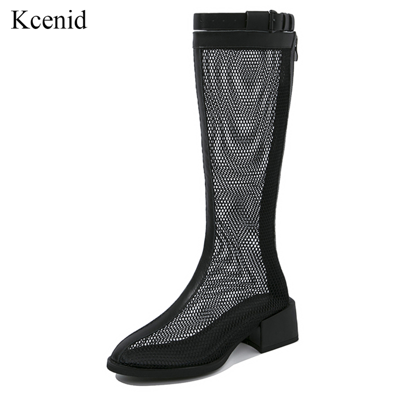 Kcenid Sexy mesh knee high shoes woman summer boots round toe cow leather buckle strap footwear chunky heel fashion female shoesKcenid Sexy mesh knee high shoes woman summer boots round toe cow leather buckle strap footwear chunky heel fashion female shoes