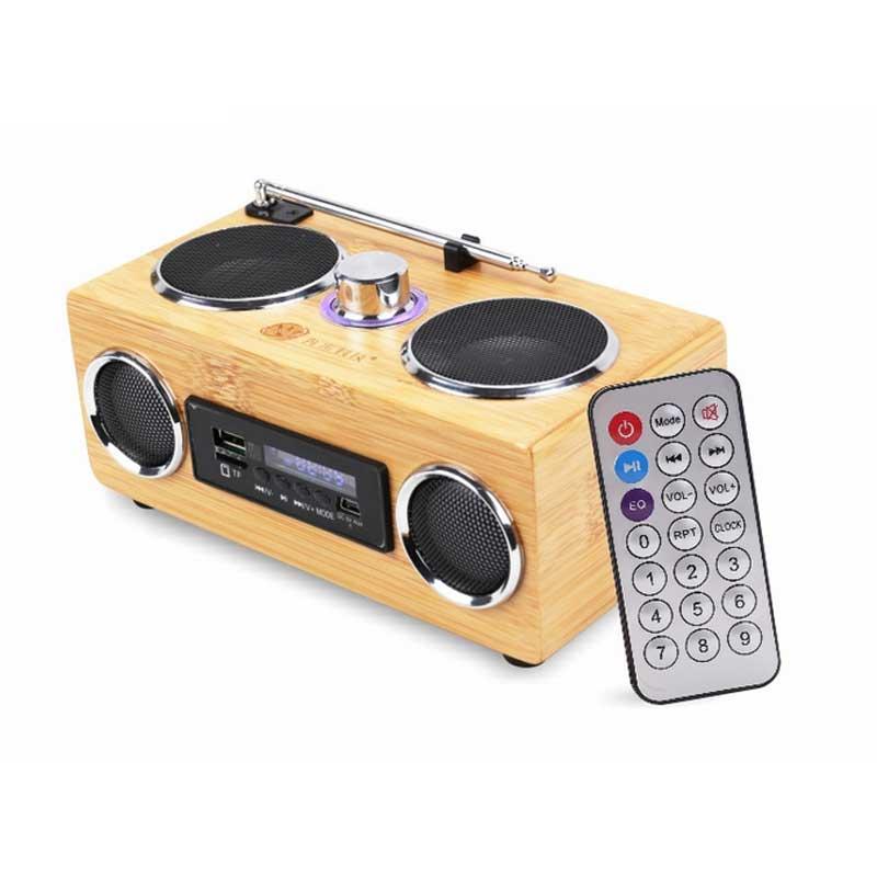 Bamboo Wireless Portable Speaker Environmental Friendly Stereo Music HIFI Subwoofer Speaker MP3 Player Radio FM USB AUX TF Card